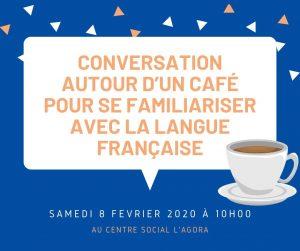 Conversation autour d'un café pour se familiariser avec la langue française