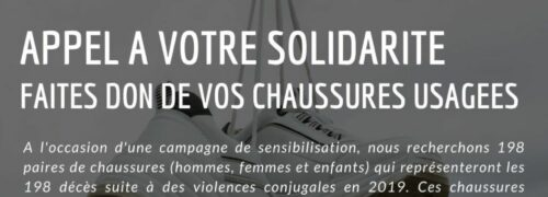 Collecte de paires de chaussures : contre les violences conjugales